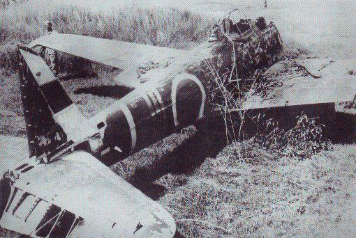 Сбитый японский истребитель Накадзима Ки-43 «Хаябуса»