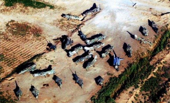 останки 22 иракских боевых самолётов МиГ-23